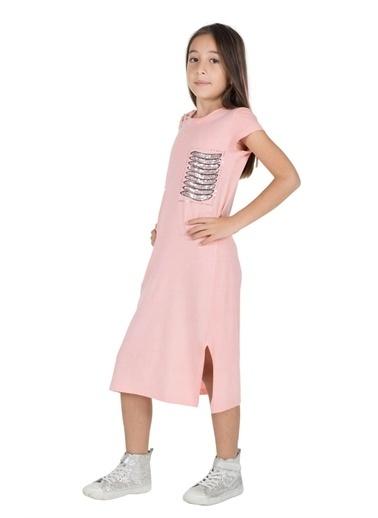 Silversun Kids Kız Genç Payet Detaylı Yırtmaçlı Örme Elbise Ek 315930 Pembe